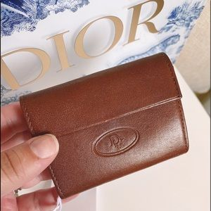 Auth. Dior Vintage Brown Leather RARE 8 Key Case